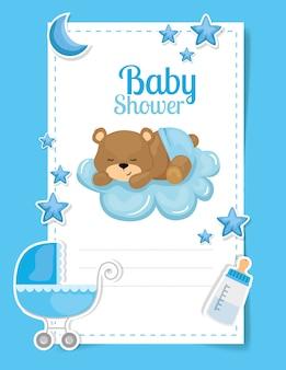 Kaart van de babydouche met schattige beer en decoratie