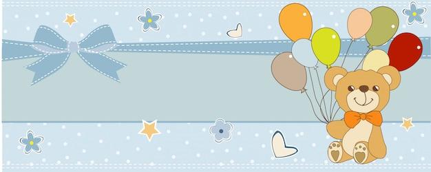 Kaart van de babydouche met schattige teddybeer Premium Vector