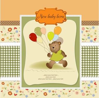 Kaart van de babydouche met schattige teddybeer