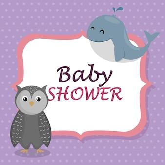 Kaart van de babydouche met schattige walvis en uil