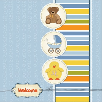 Kaart van de babydouche met speelgoed