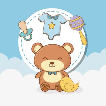 Kaart van de babydouche met teddybeer en accessoires