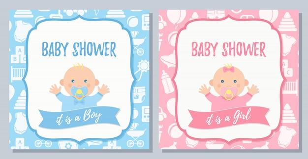 Kaart van de babydouche. vector. babyjongen, meisje nodigt ontwerp uit. cartoon vlakke afbeelding.