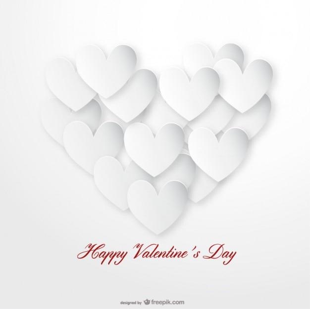 Kaart van de dag ontwerp white heart valentijnsdag