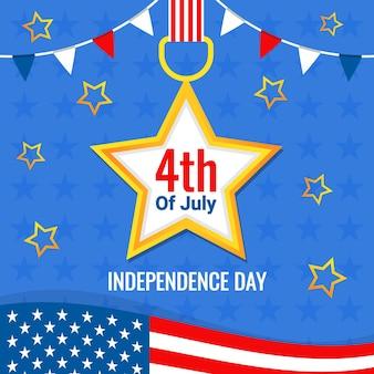Kaart van de groeten van de viering van de amerikaanse onafhankelijkheidsdag Premium Vector