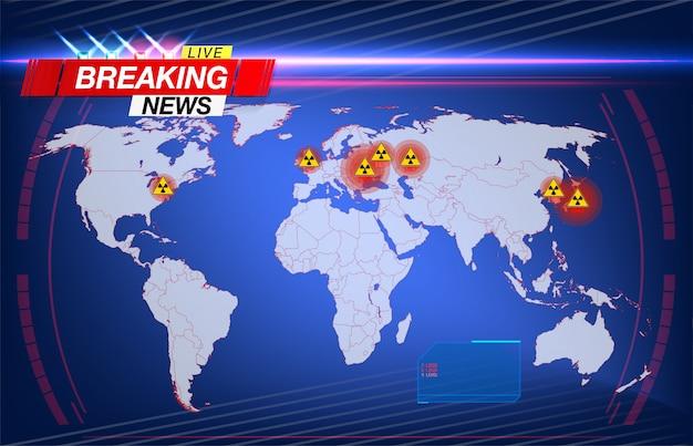Kaart van de grootste stralingsrampen met echte data