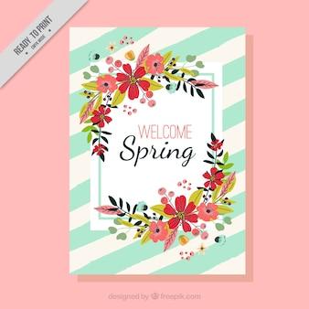 Kaart van de lente met bloemen