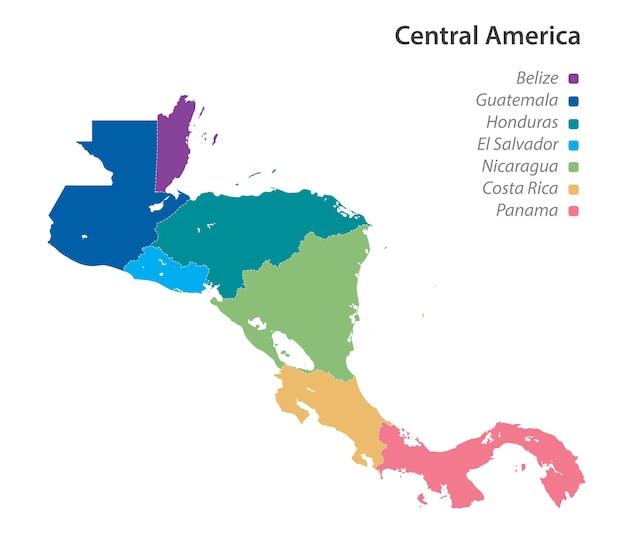 Kaart van de naam van midden-amerika Premium Vector
