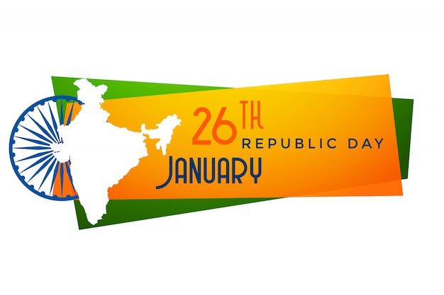 Kaart van de republiekdag van india ontwerp van de banner