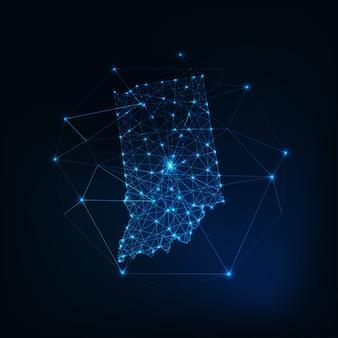 Kaart van de staat indiana vs gemaakt van sterren, lijnen, stippen, driehoeken, lage veelhoekige vormen.