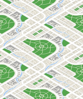 Kaart van de stad in isometrische weergave, naadloos patroon