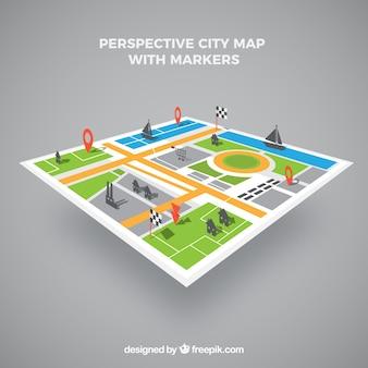 Kaart van de stad in perspectief met markers