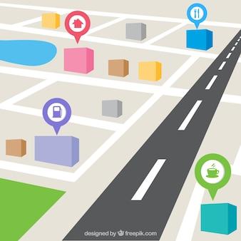 Kaart van de stad in perspectief met pin-kaarten