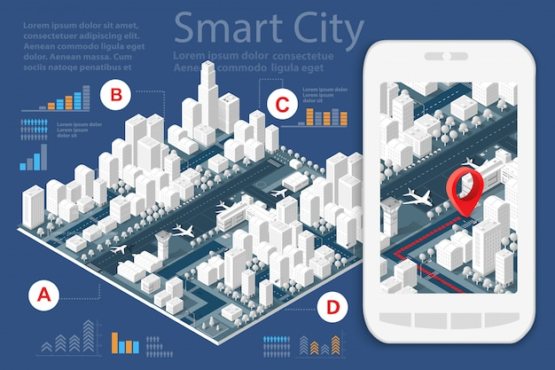 Kaart van de stad op wit ontwerp