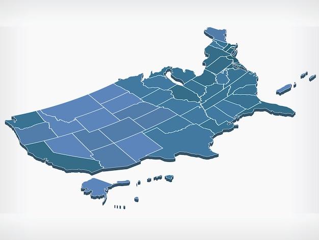 Kaart van de v.s. verenigde staten amerika isometrisch