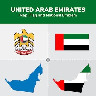 Kaart van de verenigde arabische emiraten, vlag en nationale embleem