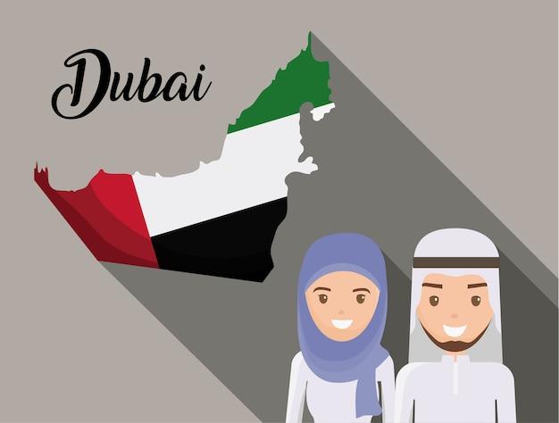 Kaart van de verenigde arabische emiratenbeeldverhaal