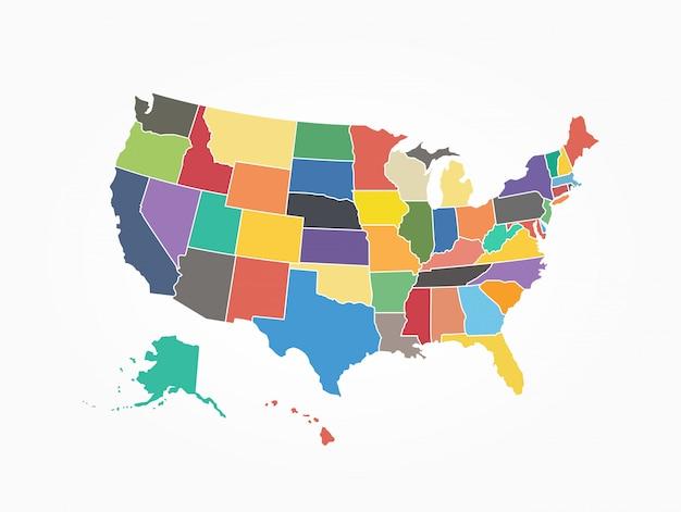 Kaart van de verenigde staat van amerika