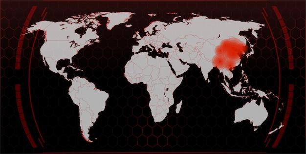 Kaart van de verspreiding van het virus in de wereld, de coronavirus-epidemie in china, een kaart van de verspreiding en infectie in de wereld.