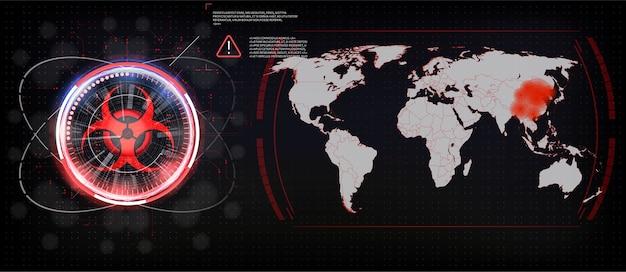 Kaart van de verspreiding van het virus in de wereld, de coronavirus-epidemie in china