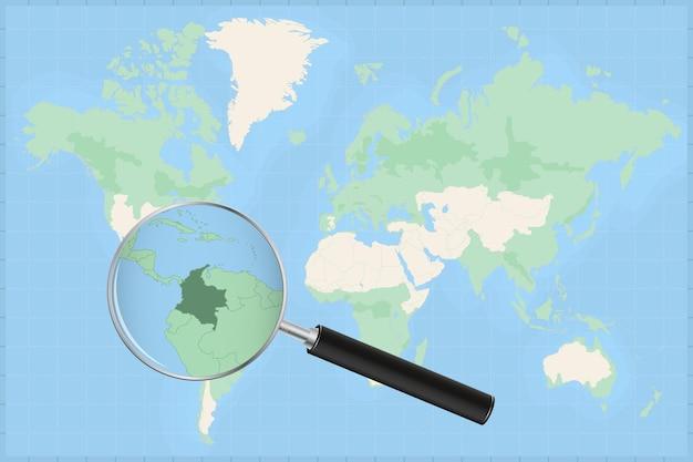 Kaart van de wereld met een vergrootglas op een kaart van colombia.