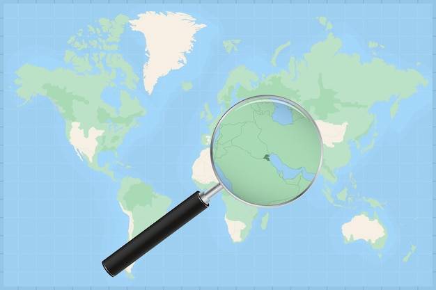 Kaart van de wereld met een vergrootglas op een kaart van koeweit.