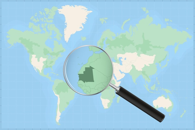 Kaart van de wereld met een vergrootglas op een kaart van mauritanië.