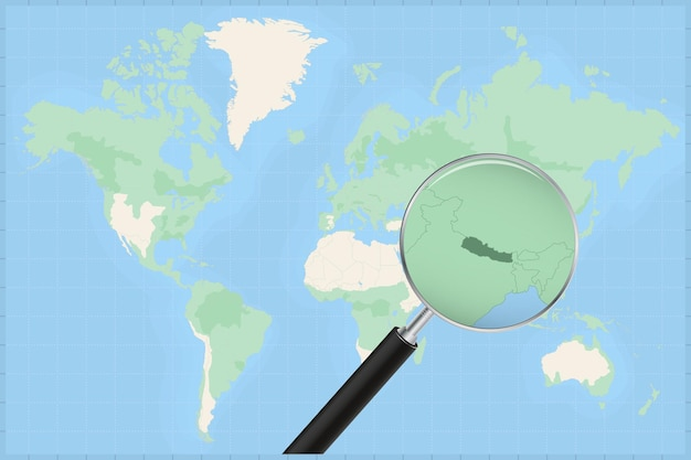 Kaart van de wereld met een vergrootglas op een kaart van nepal.