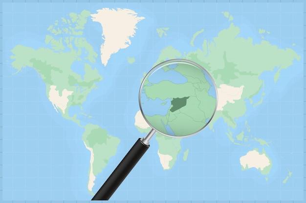 Kaart van de wereld met een vergrootglas op een kaart van syrië.