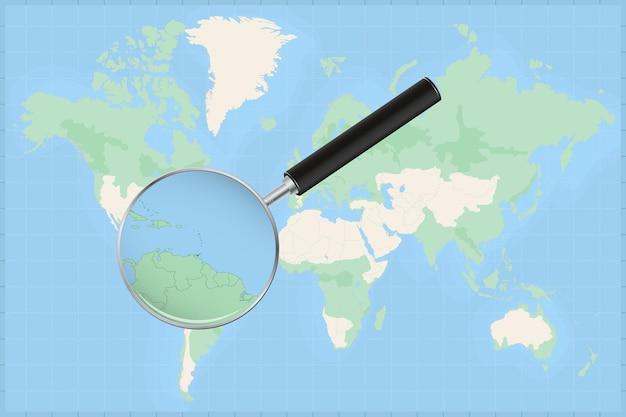 Kaart van de wereld met een vergrootglas op een kaart van trinidad en tobago.