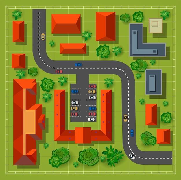 Kaart van een bovenaanzicht vanaf de daken, stadsstraten, bomen en snelwegen