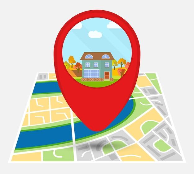 Kaart van een denkbeeldige stad met punt op de kaart met een eenzaam huis. vector illustratie.