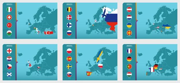 Kaart van europa met gemarkeerde kaarten van landen die deelnemen aan het europese voetbaltoernooi 2020