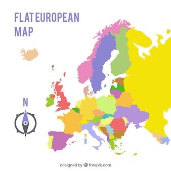 Kaart van europa met kleuren in vlakke stijl