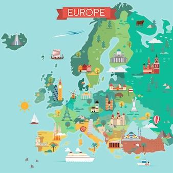 Kaart van europa. toeristische kaart. illustratie in vlakke stijl