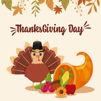 Kaart van gelukkige thanksgiving en cartoon turkije