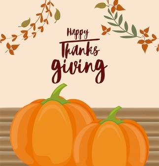 Kaart van gelukkige thanksgiving en pompoenen