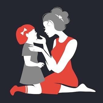 Kaart van happy mother's day. mooi moedersilhouet met haar dochter