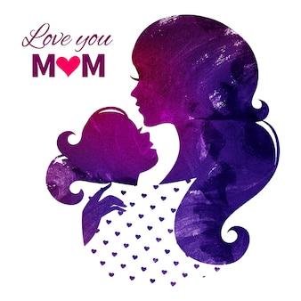 Kaart van happy mothers day. mooi moedersilhouet met haar dochter. aquarel vectorillustratie
