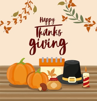 Kaart van happy thanksgiving en eten