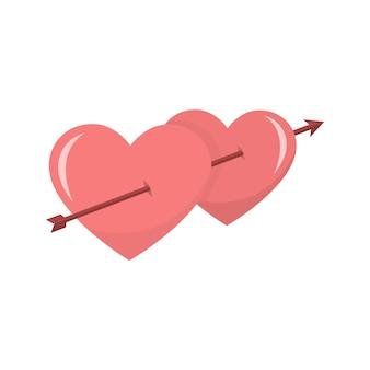 Kaart van harten met een pijl door valentines