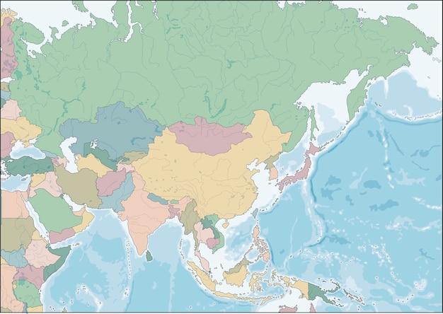 Kaart van het aziatische continent met landen