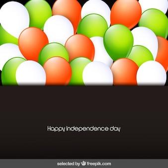 Kaart van india dag van de onafhankelijkheid met ballonnen
