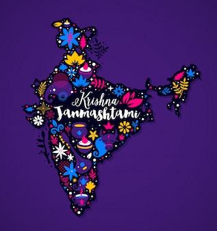Kaart van india met abstracte bloemen en nationale elementen
