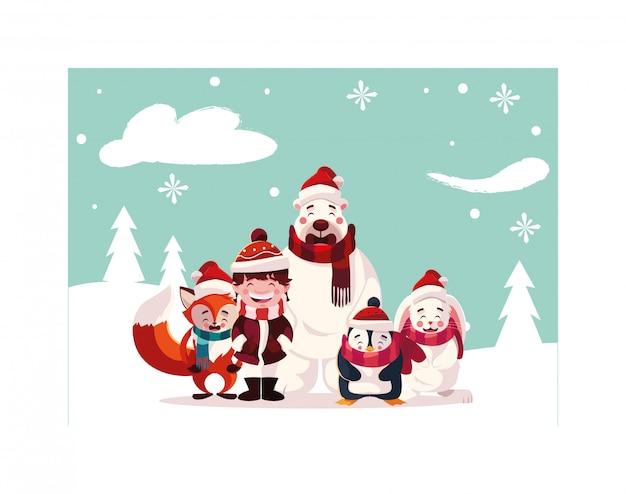 Kaart van kerstmis met pictogrammen van kerstmis
