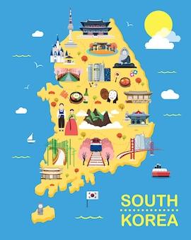 Kaart van korea attracties vector en illustratie.