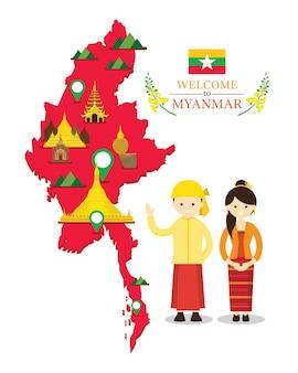 Kaart van myanmar en monumenten met mensen in traditionele kleding