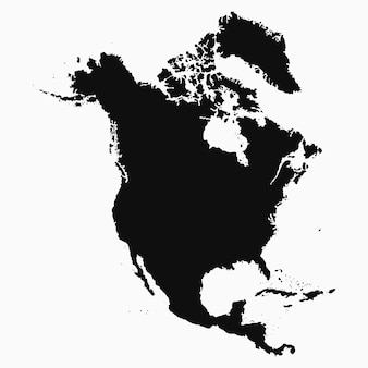 Kaart van noord-amerika. geïsoleerde zwart-wit vorm. vector illustratie.