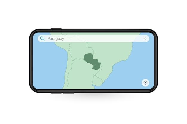 Kaart van paraguay zoeken in smartphone-kaartapplicatie. kaart van paraguay in mobiele telefoon.