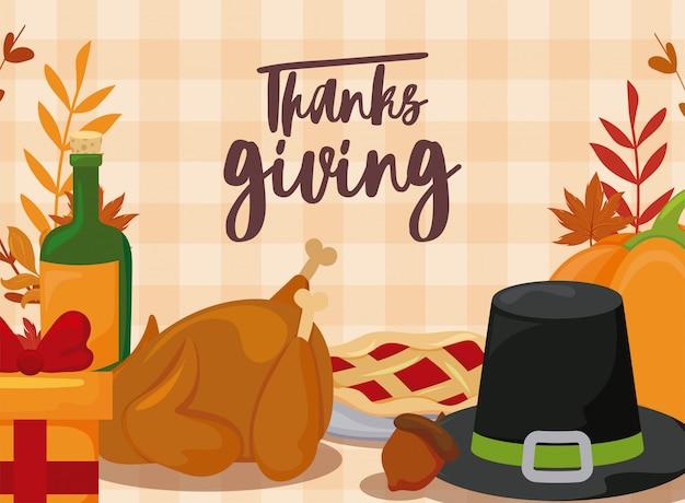 Kaart van thanksgiving en eten
